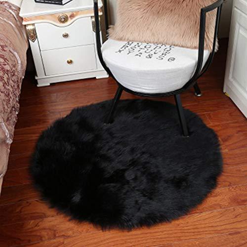 Alfombras redondas para asiento de silla de piel sintética suave de oveja para asiento de suelo o silla...