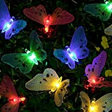 SanGlory Luci Stringa Solare 12 LED Farfalla, 3.8M Luci da Giardino Multicolore, Catene Luminose Solari Impermeabili, Luce Energia Solare per Giardino Esterno Feste Natale e Camera (12 LED Colore)