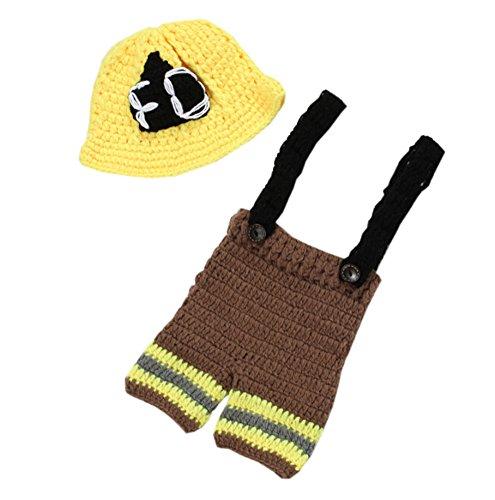 DELEY Unisex Baby Häkeln Hero Feuerwehr Uniform Kostüm Kleinkind Kleidung Outfit Foto Requisiten 0-6 Monate (Kleidung Feuerwehr)