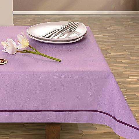 De colour púrpura de mantel de decoración de mesa muy práctico y de fácil cuidado Leinoptik lino con ribete de prendas de lino 160x350 morado