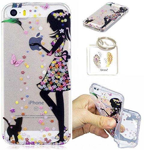 Preisvergleich Produktbild iPhone SE 5 5S Hülle Durchsichtig Silikonhülle für Apple iPhone 5/5S/SE (4.0 Zoll) Kratzfeste TPU Klar Transaprent Flexibel Weich Bumper Back Case Cover Tasche Schön Muster + Schlüsselanhänger */52 (7)