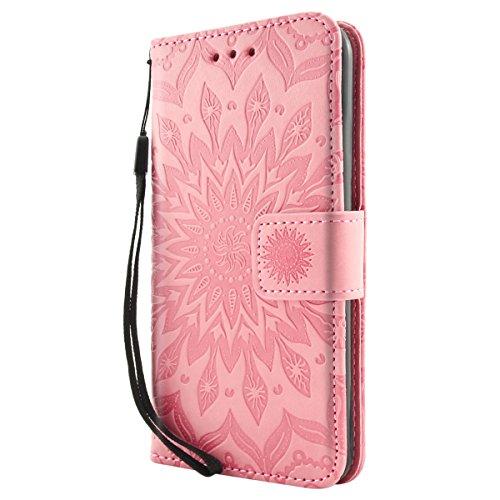iPhone 6S Plus Hülle Fraelc® iPhone 6 Plus Flip-Case Premium Kunstleder Tasche im Bookstyle Klapphülle mit Weiche Silikon Handyhalter Lederhülle für iPhone 6 Plus / 6S Plus (5,5 Zoll) Indische Sonne D Rosa