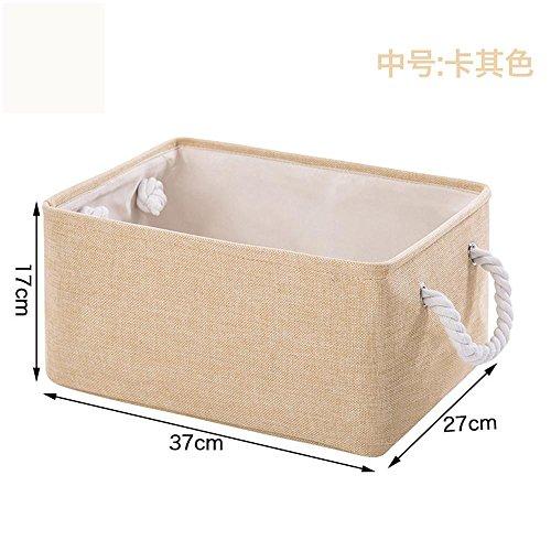 GYBJ Baumwolle und Leinen Cube Aufbewahrungsbox-Spielzeug und Kleinigkeiten Snacks Aufbewahrungsbox Desktop Ablagekorb Stoff Portable Ablagekorb, M