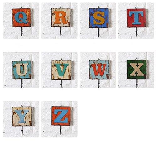 Retro 26 letras Decoración de pared de madera enganchar Puede ser com