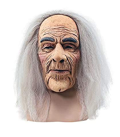 Creepy Old Man Rubber Mask With Long Grey Hair Fancy Dress Halloween Accessory Top Quality Premium Mask