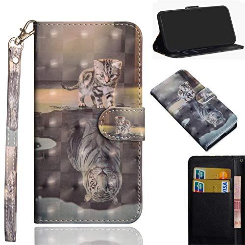HiKing Handyhülle für Samsung Galaxy A50 Hülle, PU Leder Flip Brieftasche Schutzhülle Tasche Case, mit Kartenfach und Standfunktion für Samsung Galaxy A50 Cover - Katze Tiger -