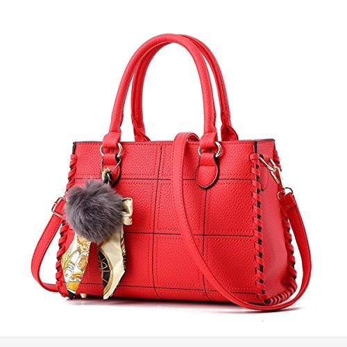 Frauen V-Form Handtaschen Umhängetaschen Große Top-Griff Taschen Cross-Body Taschen Tote Bag Messenger Bag Red