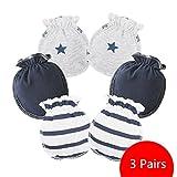 ZGJ Affe 3 Paare Baby Mädchen Junge Handschuhe Neugeborene No Scratch Fäustlinge Säugling Kratzhandschuhe (Dunkelblau)