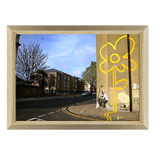 Bild auf Leinwand Canvas-Gerahmt-fertig zum Aufhängen-Banksy-Street Art Dimensione: 70x100cm E - Colore Legno Naturale Design