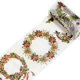 Lumanuby 1x Bunt Weihnachten Tape Masking Washi Papier Dekoband als Aufkleber für Scrapbooking Geschenk Verpackung Deko Klebeband Siegel, Klebebänder Serie 9cm*5m (Weihnachten Girlande)