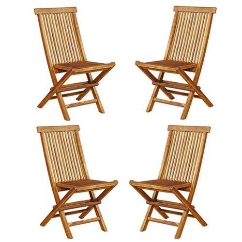 Lot de 4 chaises de Jardin Pliantes en Bois de Teck