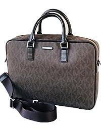 9ef9b465d9 Michael Kors Jet Set Mens Brown Signature Logo Large Briefcase Unisex
