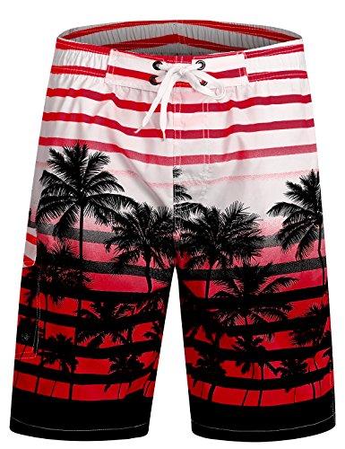 APTRO Herren Slim Fit Freizeit Shorts Casual Mode Urlaub Strand-Shorts Sommer Jun 1525 DE M Rot