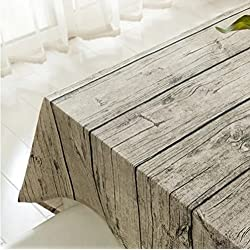 Vintage Rectangle Mantel de lino de algodón, Yanyi Brand Wood Stripe Mantel de mesa para el restaurante del hotel de casa Restaurante, calor y humedad Resistencia 100*140cm(39*55inch)