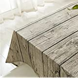 Vintage Rectangle Cotton Linen Tablecloth, Yanyi Brand Wood Stripe Dining Table Cloth for Home Hotel Cafe Restaurant, Heat and Moisture Resistance (90*90cm(35*35inch))