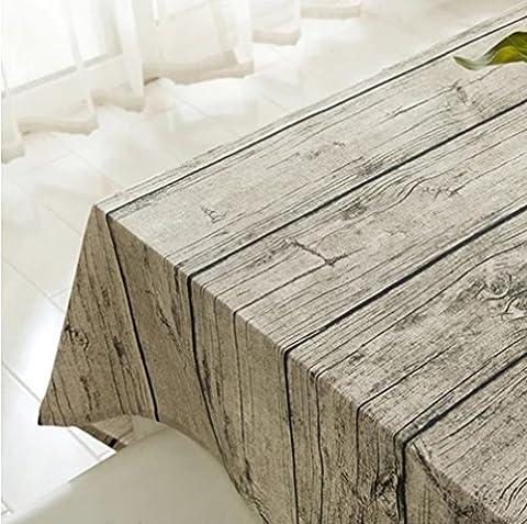 Nappe de lin en coton coton rectangulaire, Tissu de table à manger à rayures en bois pour maison Café Cafe Restaurant, chaleur et résistance à l'humidité