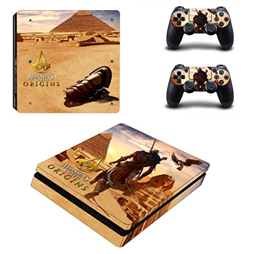 Playstation 4 Slim + 2 Controller Aufkleber Schutzfolien Set - Assassins Creed Origins (5) /PS4 S