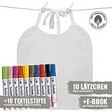 Booga Baby Weiße Lätzchen zum Bemalen | 10 Stück + Ebook + 10 Premium Marabu Textilstiften | 100% Baumwolle | Ideal zum Selbst Gestalten und Bemalen | Perfektes Baby Shower Party Geschenk
