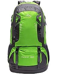 Wewod 60L Senderismo de Daypacks Mochila de deportes al aire libre Mochila de senderismo Mochila Bolsas Bolsa para Viajes Alpinismo Ciclismo 37 x 61 x 21 cm (L*H*W) (Verde)