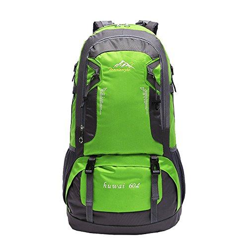 Wewod Multifonction Sac à Dos de Plein Air Grande Capacité en Oxford Tissu Sport Sac de Trekking Alpinisme Randonnée Voyage pour Hommes Femmes (Vert)