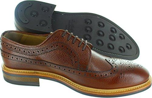 John White WROXTON Mens Leather Oxford Brogue Shoes Brown Marron