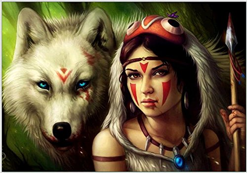 5D DIY Diamond Painting by Numbers Kits, Crystal Full Drill Embroidery Cross Stitch Rhinestone Mosaic Drawing Art Craft Home Wall Decor, Wolf Clan Girl 11.8*15.7 Inch