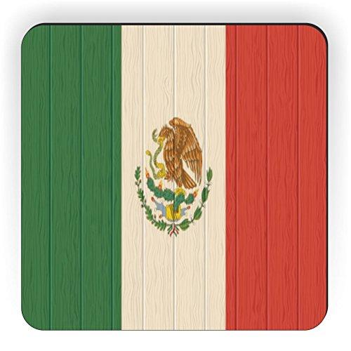 Rikki Knight Mexiko Flagge auf Distressed Holz Design Quadratisch Kühlschrank Magnet (Mexiko Peso)