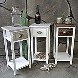Livitat® Nachttisch Nachtschrank Nachtkonsole Nachtschränkchen Shabby Vintage LV1020 Weiß