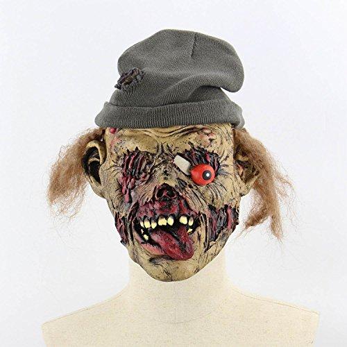 ess Zombie Mumie Feuergesicht Stinkend Halloween Room Escape Spukhaus Prop Scary Latex Zombie Geistermaske C ()