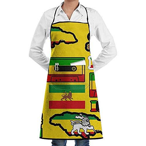 Apron ki Küchenschürze mit Zwei Taschen für Männer und Frauen, Küchenschürze zum Kochen/Backen/Basteln, Gartenarbeit & Grillen, Rasta Löwe, Jamaikanische Reggae-Flagge, Magnetband -