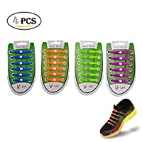 EDOBIL No Tie Lazy Silicone Shoelace for Adults and Kids KeyWants Elastic Shoes Laces Fit for Sneaker, Casual Shoes (4 Pairs) (Purple Green Blue Orange)