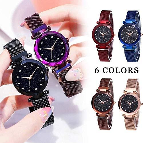 Homeofying Magnetische mesh Band Armband Sternenhimmel Frauen Uhr Strass Quarz Armbanduhr für Frauen männer Blau (Männer Verkauf-uhren Für)