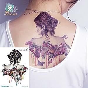 decc98bc948b7 Temporary Tattoo For Girls Men Women 3D Back Flower Butterfly ...
