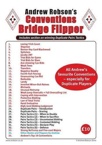Andrew Robson's Conventions Flipper (Bridge Flipper) of Robson, Andrew on 18 October 2010