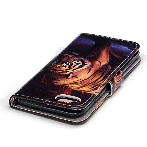 Linvei Hülle für Apple iPhone 7(4.7 Zoll) -Blumen muster Design/ TPU Silikon Backcover Case Handy Schutzhülle -Rote Blumen Design Tigermuster