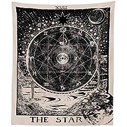 Yunt Tapiz de Tarot, Medieval Europa tapicería de adivinación Misteriosa tapicería de Pared Estrellas Estrellas del Sol Colgando de la Luna tapices para la decoración del hogar