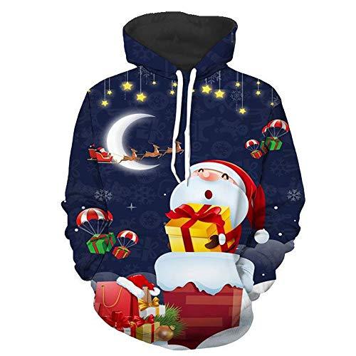 MIRRAY Herren Weihnachten Kapuzenpullover 3D Weihnachtsmann Gedruckt Xmas Pullover Langarm...
