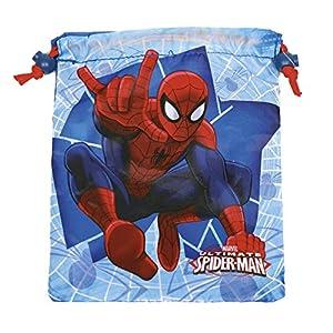 PERLETTI – Saco Lonchera Niño Marvel Spiderman – Bolsita Escolar Porta Alimientos Estampado Hombre Araña – Bolsa de Cincha Zapatos con Cordón de Viaje Escuela – Rojo y Azul – 23×20 cm