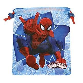 51amOptjHQL. SS324  - PERLETTI - Saco Lonchera Niño Marvel Spiderman - Bolsita Escolar Porta Alimientos Estampado Hombre Araña - Bolsa de Cincha Zapatos con Cordón de Viaje Escuela - Rojo y Azul - 23x20 cm
