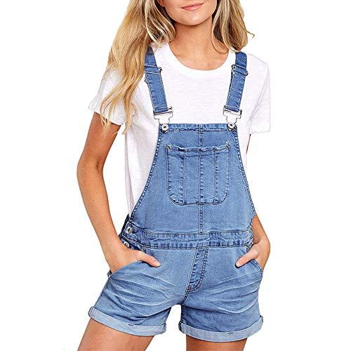Damen Sommer Jumpsuits Kurz, Morbuy Mode Latzhose mit Taschen Casual Einstellbar Hosen Neu Jeanshose Denim Casual Overalls Playsuit Hose Hosenanzug (S, Blau)