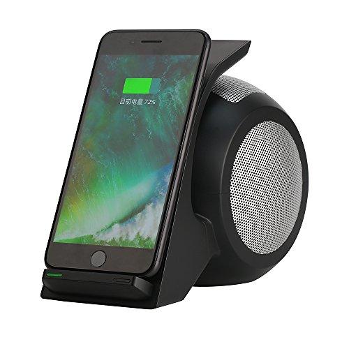 10W Fast Qi Wireless Charger Bluetooth-Lautsprecher Mit NFC/AUX Ladegerät kabelloses Induktive Ladestation Schnellladestation für iPhone X/8/8 Plus Samsung Galaxy S9/S8,Schwarzes Muschelsilbernetz