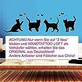 Wandtattoo Loft Vier Katzen mit Schmetterlingen- Wandtattoo / 49 Farben / 3 Größen