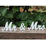 Amajoy vintage Mr & Mrs Blanc mariage Lettres en bois support Panneau support Figurines Décoration cadeaux de mariage Décoration de la Maison