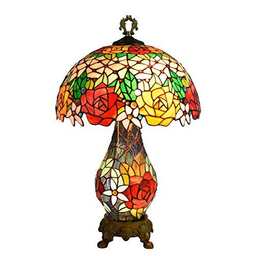 Light-GYH Tiffany-Stil Tischlampen, kreative Retro Rosen Design Glasmalerei dekorative Schreibtischlampen, Büro, Studentenwohnheim, Esszimmer, Mädchen Zimmer Nachttischlampe