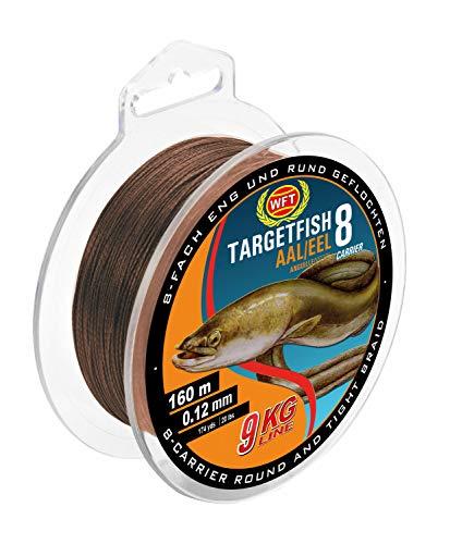 WFT TF8 Aal brown 160m 0,12mm 9kg - Angelschnur zum Aalangeln, Aalschnur, geflochtene Schnur für Aale