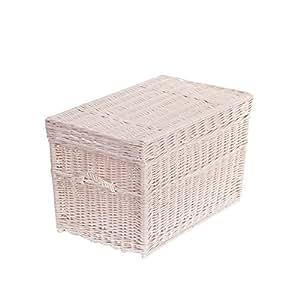 coffre jouet en osier blanc grand panier corbeille pouf banc avec coussin de si ge malle de. Black Bedroom Furniture Sets. Home Design Ideas