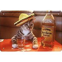 Tequila Cat funny gato divertido cartel de bar 20x 30cm cartel de chapa 125