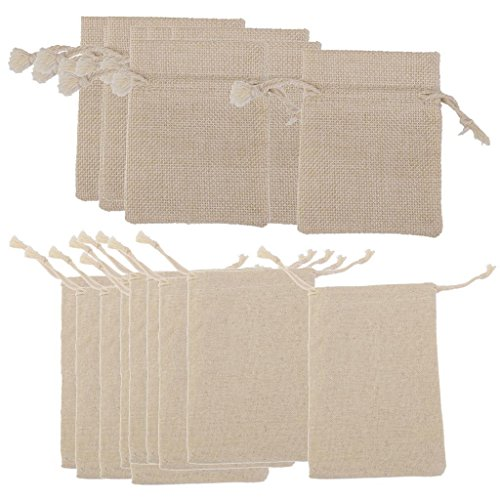 Electroprime® 20pcs Hessian Jute Linen Bags Drawstring Pouches Wedding Favor Gift Bag 3x4
