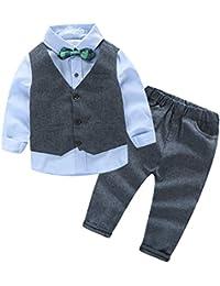 iBaste Los niños de Europa y América traje de caballero Camiseta manga larga + Pantalones + Chaleco de la Moda 2016 Nuevo
