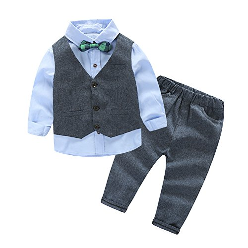 [Kinderanzug Jungen Gentleman] 3 pcs Hemd mit Fliege + Weste + Hose Bekleidungsset Baby Kinder Kinderanzug Junge Anzug Kleikind 110